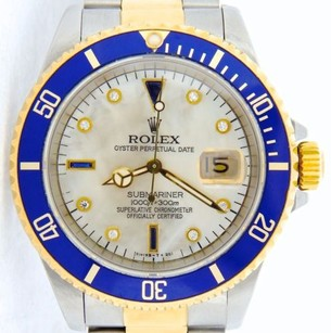 Rolex Rolex 2tone 18k Goldstainless Steel Submariner White Mop Diamond Serti Blue Sub