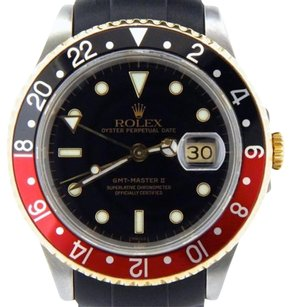 Rolex Rolex 2tone 18k Yellow Goldstainless Steel Gmt-master Ii Black Red Coke 16713
