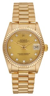 Rolex Rolex Datejust 18K Yellow Gold Custom Diamond Presidential Unisex Watch