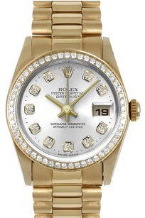 Rolex Rolex 31mm Mid-Size 18k Yellow Gold Silver Diamond Dial President Watch