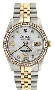 Rolex Rolex 36mm Diamond Two Tone Datejust Mother of Pearl Dial Watch