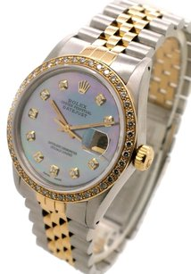 Rolex Rolex DateJust 16013 Stainless Steel and Yellow Gold Custom Diamond Men's Watch