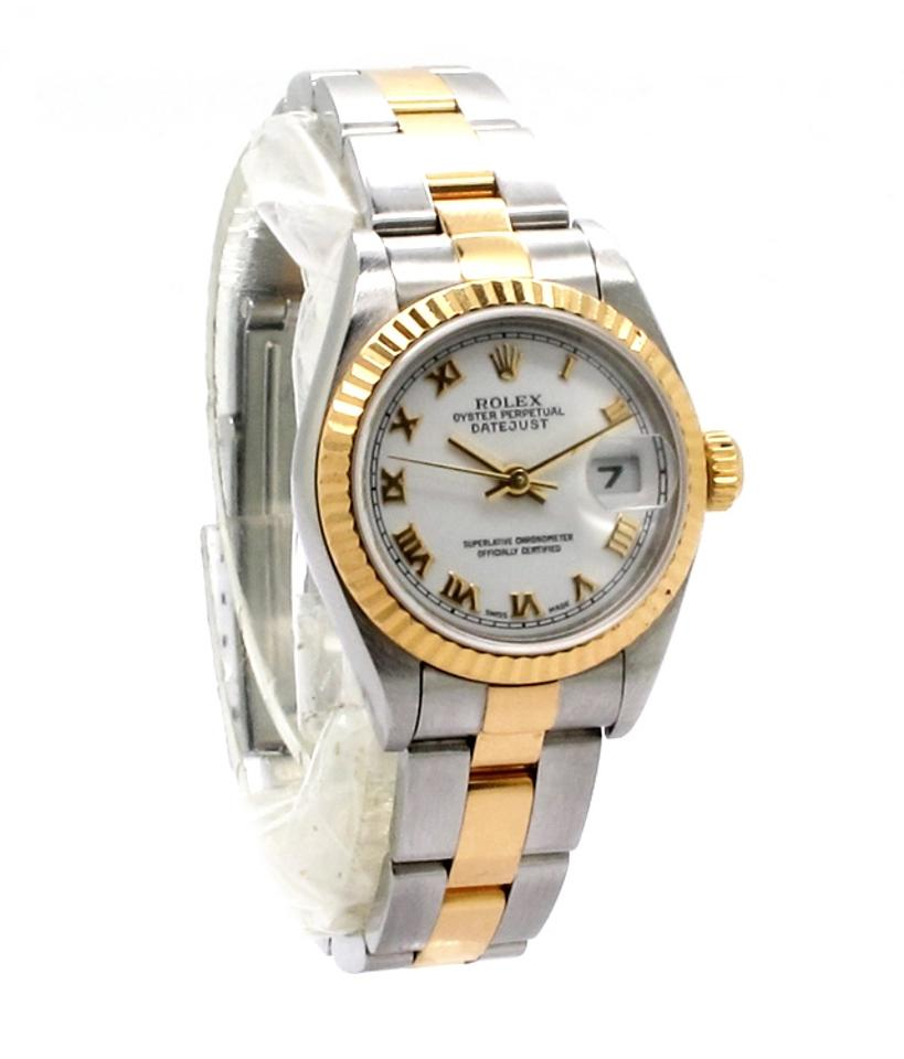 Rolex silver gold datejust k yellow and stainless steel