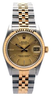 Rolex Rolex Datejust 18K Yellow Gold and Steel Champagne Tapestry Dial Unisex Watch