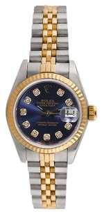 Rolex Rolex Datejust 18K Yellow Gold and Steel Custom Diamond Blue Dial Ladies Watch