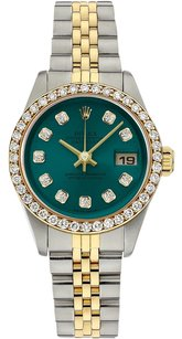 Rolex Rolex Datejust 18K Yellow Gold and Steel Custom Diamond Turquoise Dial Ladies Watch