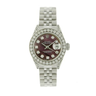 Rolex Rolex Datejust 6917 SS Maroon Diamond Dial 1.5CTW Bezel Ladies Watch
