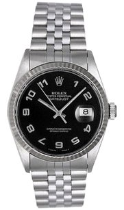 Rolex Rolex Datejust Black Arabic Dial Stainless Steel Men's Watch 16234