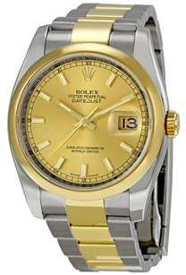 Rolex Rolex Datejust Champagne Index Dial Oyster Bracelet Two Tone Domed Bezel Men's Watch 116203
