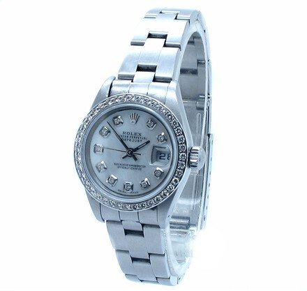 Rolex Rolex Datejust Stainless Steel Custom Diamond Silver Dial Ladies Watch.