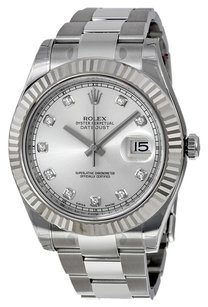 Rolex Rolex Datejust II Silver Diamond Dial 18k White Gold Fluted Bezel Oyster Bracelet Men's Watch 116334