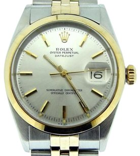 Rolex Rolex Datejust Mens 14k Yellow Gold Stainless Steel Jubilee Silver Domed 1601