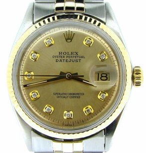 Rolex Rolex Datejust Mens 2tone 14k Gold Stainless Steel Champagne Diamond Dial 1601