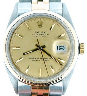Rolex Rolex Datejust Mens 2tone 14k Gold Stainless Steel Jubilee Fluted Champagne 1601