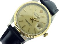 Rolex Rolex Datejust Mens 2tone 18k Gold Stainless Steel Black W Champagne Dial 16013