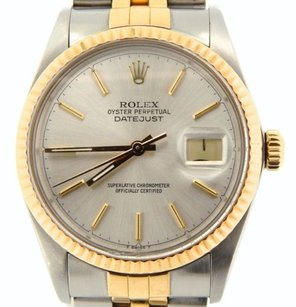 Rolex Rolex Datejust Mens 2tone 18k Gold Stainless Steel Silver W Jubilee Band 16013