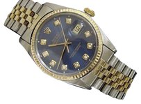 Rolex Rolex Datejust Mens 2tone 18k Gold Stainless Steel Watch Blue Diamond Dial 16013