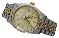 Rolex Rolex Datejust Mens 2tone 18k Yellow Gold Steel Watch Jubilee Champagne 16013