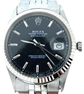 Rolex Mens Rolex Stainless Steel18k White Gold Datejust Black Wjubilee Band 1601