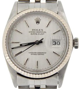 Rolex Rolex Datejust Mens Stainless Steel 18k White Gold Jubilee Silver Tapestry 16014