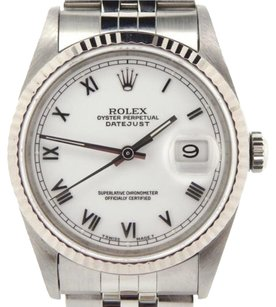 Rolex Rolex Datejust Mens Stainless Steel 18k White Gold W White Roman Dial 16234
