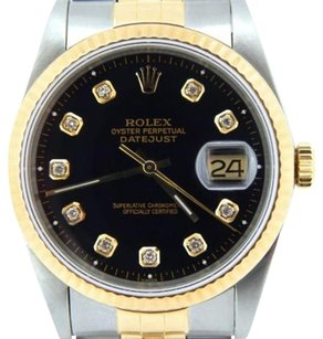 Rolex Rolex Datejust Mens Stainless Steel 18k Yellow Gold Jubilee Black Diamond 16233
