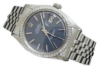 Rolex Rolex Datejust Mens Stainless Steel Engine-turned W Blue Dial Jubilee Band 1603