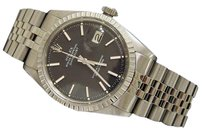 Rolex Rolex Datejust Mens Stainless Steel Jubilee Engine-turned Black Dial Watch 1603