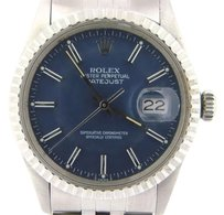 Rolex Rolex Datejust Mens Stainless Steel Watch Quickset Blue Dial Jubilee Band 16030