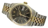 Rolex Rolex Datejust Mens Two-tone 14k Gold Stainless Steel Black W Jubilee Band 1601