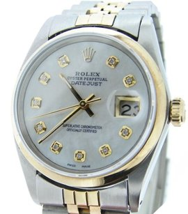 Rolex Rolex Datejust Mens Two-tone 18k Gold Steel Watch Domed White Mop Diamond 16013