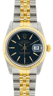 Rolex Rolex DateJust Midsize Two Tone Black Stick Dial Watch 69273