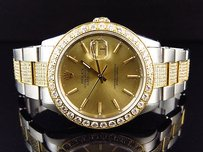Rolex Rolex Datejust Mm Tone Stainless Steel Oyster Band Diamond Watch Ct