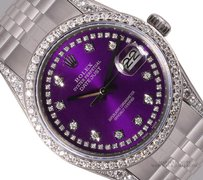 Rolex Rolex Datejust S/Steel 36mm-Purple String Diamond Dial-Log-Bezel