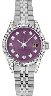 Rolex Rolex Datejust Stainless Steel Custom Diamond Purple Dial Ladies Watch