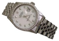Rolex Rolex Datejust Stainless Steel Watch Quickset White Mop Diamond Dial 1ct Bezel