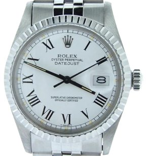 Rolex Rolex Datejust Stainless Steel Watch White Black Roman Dial Jubilee Band 16030