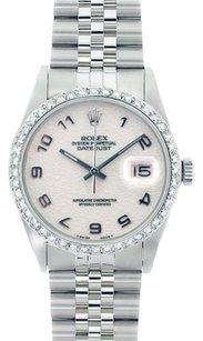 Rolex Rolex DateJust Stainless Steel White Arabic Jubilee Dial Diamond Bezel Watch 16014