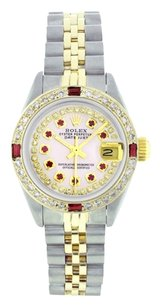 Rolex Rolex Datejust Steel and 18K Gold Custom Diamond and Ruby Ladies Watch