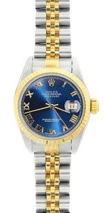 Rolex Rolex DateJust Two-Tone Blue Roman Dial Watch 69173