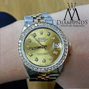 Rolex Rolex Datejust Two Tone Custom Diamond Bezel Custom Rolex Dial Silver