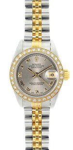 Rolex Rolex DateJust Two-Tone Silver Roman Dial Diamond Bezel Watch 69173