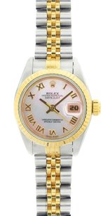 Rolex Rolex DateJust Two-Tone White Mother of Pearl Roman Dial Watch 69173