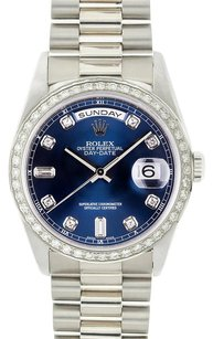 Rolex Rolex Day-Date 18k White Gold Blue Diamond Dial President Watch 18239