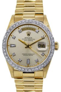 Rolex ROLEX DAY DATE 18K YELLOW GOLD CUSTOM DIAMOND MEN'S WATCH