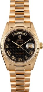 Rolex Rolex Day-Date President Black Roman Pyramid Dial Watch 18038