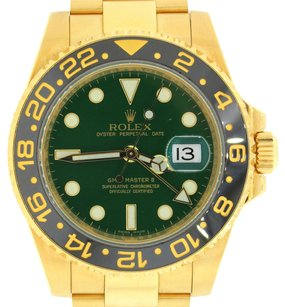 Rolex ROLEX GMT MASTER II 116718LN 18K YELLOW GOLD GREEN DIAL WATCH 2012