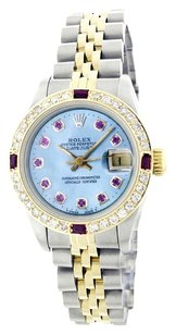 Rolex Rolex Ladies 18K Yellow Gold and Stainless Steel Custom Ruby Diamond Bezel and Dial Watch