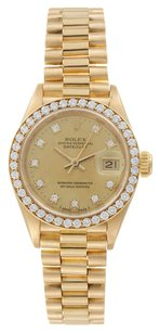 Rolex Rolex Datejust 18K Yellow Gold Custom Diamond Ladies Presidential Watch