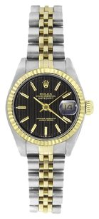 Rolex Rolex Ladies DateJust Two-Tone Black Tapestry Dial Watch 69173